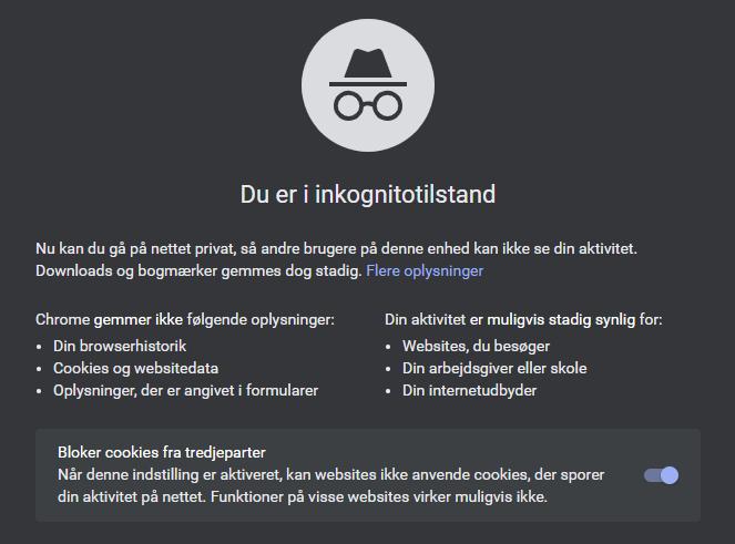 Inkognito tilstand Chrome